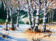 Winter Landscape Paintings - Seasonal Transition by Karon Melillo DeVega