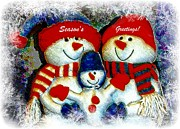 Button Nose Prints - Seasons Greeting Snowmen Print by Michelle Frizzell-Thompson