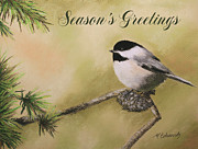 Chickadee Pastels Framed Prints - Seasons Greetings Chickadee Framed Print by Marna Edwards Flavell