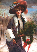 Feathered Hat Framed Prints - Seasons Greetings Framed Print by Emile Vernon