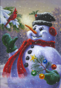 Snowman Posters - Seasons Greetings Poster by Richard De Wolfe