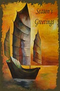 Fishing Enthusiast Art - Seasons Greetings by Tracey Harrington-Simpson