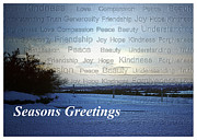 Snow-covered Landscape Digital Art Posters - Seasons Greetings Wishes Poster by Belinda Greb