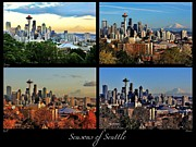 Collage Poster Framed Prints - Seasons of Seattle Black with Title and Labels Framed Print by Benjamin Yeager