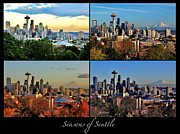 Collage Poster Framed Prints - Seasons of Seattle Black with Title Framed Print by Benjamin Yeager