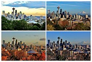 Seattle Skyline Art - Seasons of Seattle White by Benjamin Yeager