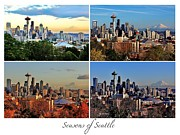Collage Poster Framed Prints - Seasons of Seattle White with Title Framed Print by Benjamin Yeager