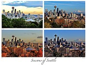 Seattle Skyline Art - Seasons of Seattle White with Titles and Labels by Benjamin Yeager