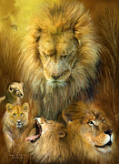 Wild Animal Mixed Media Posters - Seasons Of The Lion Poster by Carol Cavalaris