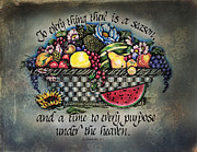 Religious Mixed Media Prints - Seasons Scripture Print by La Rae  Roberts