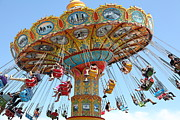 Swings Photos - Seaswings At Santa Cruz Beach Boardwalk California 5D23897 by Wingsdomain Art and Photography