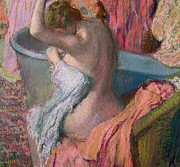 Form Pastels Metal Prints - Seated Bather Metal Print by Edgar Degas