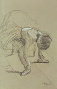 Ballet Dancers Pastels Metal Prints - Seated Dancer Adjusting her Shoes Metal Print by Edgar Degas