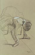 Seated Dancer Adjusting Her Shoes Print by Edgar Degas