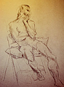 Chair Drawings - Seated Erich 2 by Andy Gordon