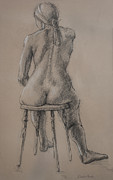 Residential Drawings Framed Prints - Seated Figure Framed Print by Sarah Parks