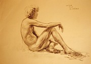 Graphite On Paper Posters - Seated male nude Poster by Herschel Pollard