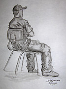 Monochromatic Study Prints - Seated Man in Ball Cap Print by Jeffrey Oleniacz
