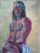 Paintngs On Paper Prints - Seated Man with a Hat Print by Asha Carolyn Young