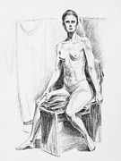 Nudes Drawings Prints - Seated Model Drawing  Print by Irina Sztukowski