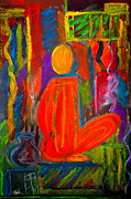 Colorful Abstract Drawings - Seated monk by Nirdesha Munasinghe