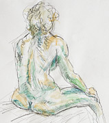 Chair Drawings - Seated Nude by Andy Gordon