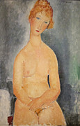 Amedeo Framed Prints - Seated Nude Woman Painting Framed Print by Amedeo Modigliani