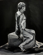 Grisaille Paintings - Seated Twist by Raven Burnes