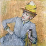 Hat Pastels Framed Prints - Seated Woman Framed Print by Edgar Degas