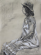 Three-quarter Length Drawings Prints - Seated Woman in a White Dress and Straw Hat Print by Asha Carolyn Young