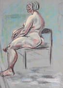 Relaxed Pastels Metal Prints - Seated Woman with Silver Hair Metal Print by Asha Carolyn Young