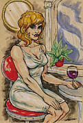 Cocktails Mixed Media Originals - Seated Woman with Wine by John Ashton Golden