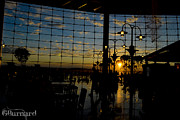 Guinapora Graphics Prints - Seattle Airport Sunset Print by Guinapora Graphics