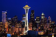 Seattle Skyline Posters - Seattle By Night Poster by Benjamin Yeager