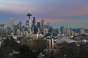 Seattle Skyline Acrylic Prints - Seattle Christmas Acrylic Print by Benjamin Yeager