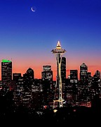 Seattle Skyline Acrylic Prints - Seattle Christmas Dawn Acrylic Print by Benjamin Yeager