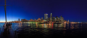Dusk Posters - Seattle City Skyline Romance Poster by Scott Campbell