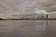 Alki Beach Prints - Seattle Cityscape In Clouds  Print by SC Heffner