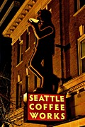 Night Cafe Posters - Seattle Coffee Works Poster by Benjamin Yeager