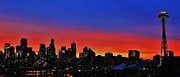 Seattle Skyline Posters - Seattle Dawning Panorama Poster by Benjamin Yeager