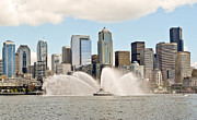 Fireboat Photos - Seattle Downtown With Fireboat by Tisha  Clinkenbeard