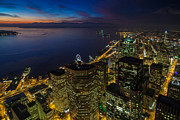Puget Sound Photos - Seattle Dusk Colors by Mike Reid