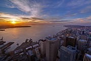 Elliott Prints - Seattle Elliott Bay Sunset Print by Mike Reid