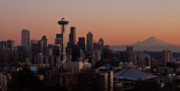 Needle Photo Prints - Seattle Evening Mood Print by Mike Reid
