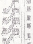 Seattle Mixed Media Prints - Seattle Fire Escape Print by Janel Bragg