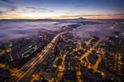 Seattle Center Prints - Seattle Fog Rolls In Print by Mike Reid