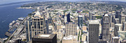 City Buildings Prints - Seattle from above panorama. Print by Gino Rigucci