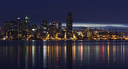 Alki Beach Framed Prints - Seattle From Alki Framed Print by Joseph Eckert