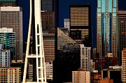 Urban Buildings Prints - Seattle Geometry Print by Benjamin Yeager