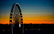 Seattle Waterfront Posters - Seattle Great Wheel at Sunset Poster by Ronda Broatch